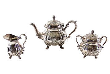 Tea Set 3pcs chased Silver plate C. 1940