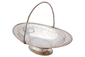 English Basket w/ Twist Handle, C. 1860