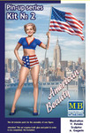Masterbox Models - Betty American Beauty Pin-Up Girl Standing Holding American Flag