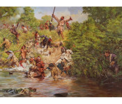 "The Art of Don Troiani - ""Ensign Downing's Escape"" - Battle of Wyoming, July 3, 1778"