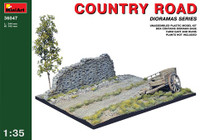 "Miniart Models Country Road Section (5""x10"") w/Farm Cart & Stone Wall Section"