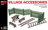 Miniart Models Village Accessories (Fences, Table w/Benches, Ladders)