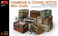 Miniart Models Champagne & Cognac Bottles w/Crates