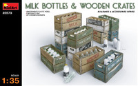 Miniart Models Milk Bottles & Wooden Crates