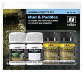 Vallejo Bottles Mud & Puddles Diorama Effect Paint Set