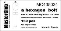 Masterclub Hexagon standard bolt head, head 0.7mm aperture 0.5mm 160 pcs.