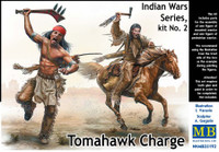 Masterbox Models - Tomahawk Charge Indians w/Weapons (2) & Horse (1)