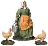 "Wm. Britain ""Miss Dayfield"" Woman Doing Farm Chores with two Chickens"