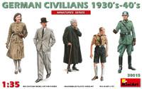 Miniart Models - German Civilians (3) & Soldiers (2) 1930's-40's
