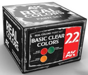 AK Interactive: Real Colors - Basic Clear Colors Acrylic Lacquer Paint Set 22