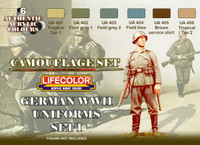 Lifecolor - WWII Camoflauge German Uniforms Set #1 Acrylic Paint Set
