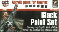 Andrea Miniatures - Black Paint Set