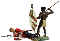 "Wm. Britain - ""No Quarter"" Zulu Warrior Spearing Down on British 24th Foot Hand-To- Hand Set"