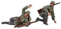 "Wm. Britain - ""Forward"" 1916-18 German Infantry Signaling & Kneeling with Grenade"