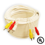60 Ft super grade RCA CCTV cable with power cord plus 2 RCA Female to BNC Female Connectors
