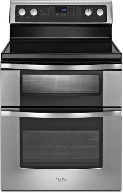 Whirlpool Stainless Steel Self Cleaning Double Oven Electric Range WGE555S0BS