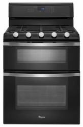 Whirlpool 6.0 CF Freestanding Gas Double Oven Black Range with Convection WGG755S0BE