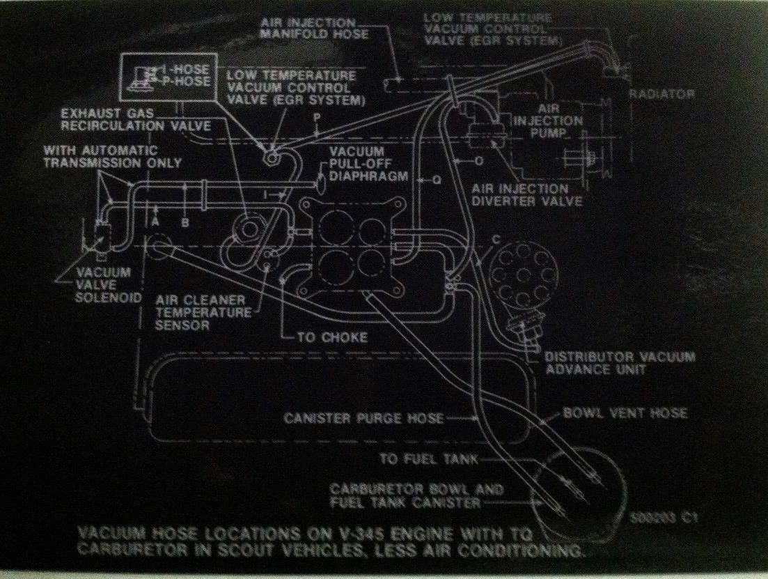 engine compartment vacuum hose diagram for scout ii ssii traveler and terra roedel bros llc