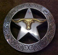 Longhorn & Star With Engraved Border Concho