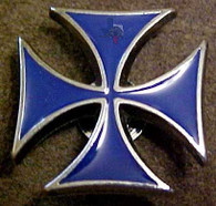 Blue Maltese Cross Concho