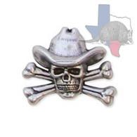 Cowboy Skull & Crossbones Motorcycle Concho