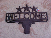 Rustic Metal Longhorn & Star Welcome Sign RD61111