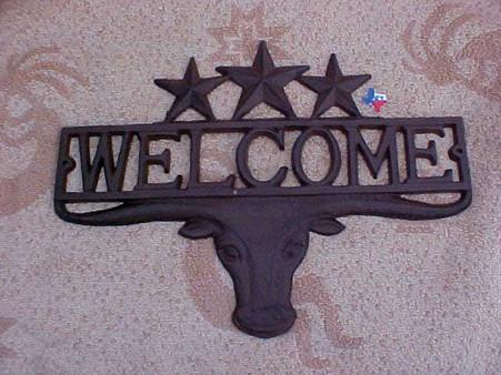 Rustic Metal Longhorn & Star Welcome Sign RD61111