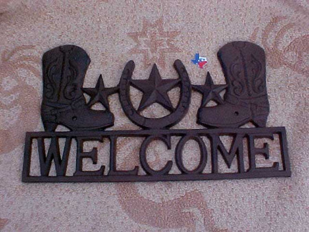 Rustic Metal Boot & Star Welcome Sign RD61107