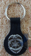 Military Key Fob Protect and Serve Black Leather