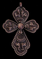 CROSS PENDANT PINK CORAL ANTIQUE COPPER FINISH