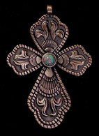 CROSS PENDANT CABOCHON CENTER ANTIQUE COPPER FINISH