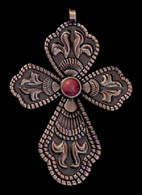 CROSS PENDANT RED CORAL ANTIQUE COPPER FINISH