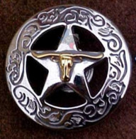 Texas Longhorn On Star With Engraved Border Conchos