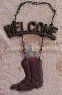 Western Welcome Wall Plaque With Boot on Chain
