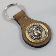Military Key Fob US Marine Corps Brown Leather
