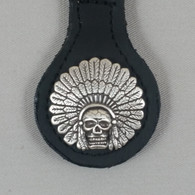 Motorcycle Biker Key Fob Indian Cheif Headdress & Skull Black Leather