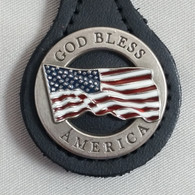 God Bless America Flag Key Fob Black Leather
