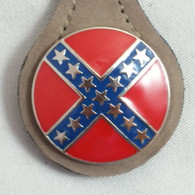 Confederate Round Rebel Key Fob Brown Leather