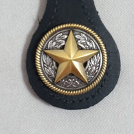 Texas Star Key Fob BLack Leather