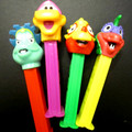 Retired European Dinosaur pez set (neon stems), mint, loose