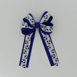 """Item no.: dgcgclsoc, Size: 5 1/2"""" X 9"""",  Color: Royal Blue/White Royal Blue Center """"Soccer Ball"""",  Center: Cone,  Ribbon Size: 1 1/2"""" / 7/8""""  Type of Clip: French clip        MADE IN USA"""