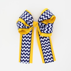 "Item No.:dglcchev   Size: 7""X8.5""  Color: Lt.Gold/Navy Chevron  Center: Cone  Ribbons Size: 2 1/4""/ 1 1/2""  Type of Clip: French Clip  MADE IN USA"