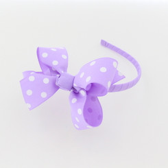 Headband with Bow Lavander Poka dot