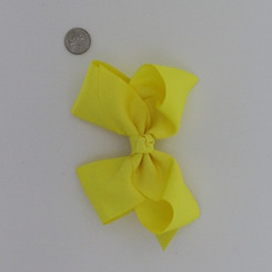 """Large 2 1/4"""" Ribbon Bow Imported Aligator Clip Yellow"""