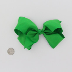 "Large 2 1/4"" Ribbon Bow Imported Aligator Clip Lime Green"