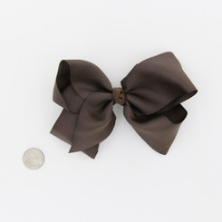 "Large 2 1/4"" Ribbon Bow Imported Aligator Clip Brown"