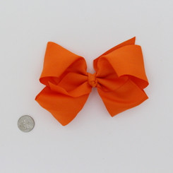 "Large 2 1/4"" Ribbon Bow Imported Aligator Clip Orange"
