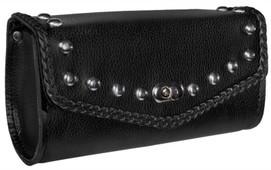 True Element TEBU88002BCL Genuine Leather Small Tool  Sissy Bar mountable Motorcycle Bag (Black)