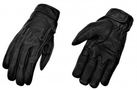 True Element Mens Embroidered Flame Design All-Weather Motorcycle Driver Glove (Black, Sizes S-2XL)