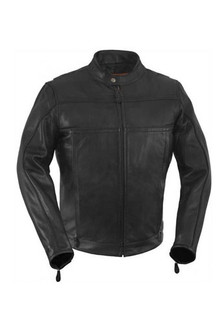 True Element Mens Vented Scooter Collar Leather Motorcycle Jacket with Night Visibility Reflectors (Black, Sizes S-5XL)